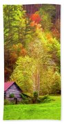 Embraced In Autumn Color Painting Bath Towel