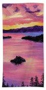 Emerald Bay Sunset Hand Towel by Darice Machel McGuire