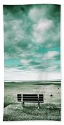 Empty Beach Bench Bath Towel