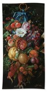 Festoon Of Fruit And Flowers, 1670 Bath Towel