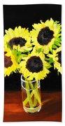 Five Sunflowers Hand Towel