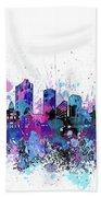 Fort Worth Skyline Color Splatter Bath Towel