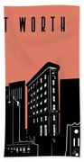 Fort Worth Skyline Panorama Red Hand Towel