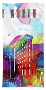 Fort Worth Skyline Panorama Watercolor 2 Bath Towel