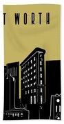 Fort Worth Skyline Panorama Yellow Bath Towel