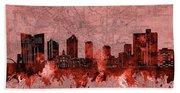 Fort Worth Skyline Vintage Red Bath Towel