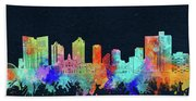 Fort Worth Skyline Watercolor Black Bath Towel
