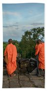 Four Monks And A Phone. Hand Towel