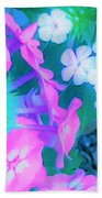 Garden Flowers In Pink, Green And Blue Bath Towel