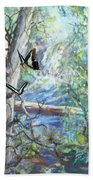 Girl And Butterflies Far North Queensland Rainforest Hand Towel by Ryn Shell