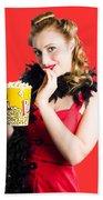 Glamorous Woman Holding Popcorn Bath Towel