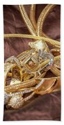 Gold Jewelry Close Up Bath Towel