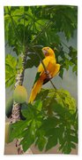 Golden Parakeet In Papaya Tree Bath Towel