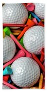 Golf Balls And Colorful Tees Bath Towel
