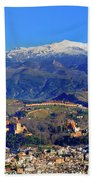 Granada, The Alhambra And Sierra Nevada From The Air Bath Towel