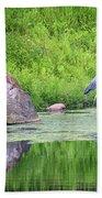 Great Blue Heron Fishing Bath Towel