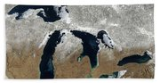 Great Lakes In Winter Hand Towel