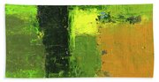 Green Envy Abstract Painting Bath Towel