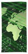 Greenish Worldmap In Tech Future. Hand Towel by Alberto RuiZ