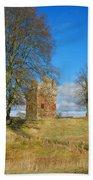 Greenknowe Tower In Winter Sun, Scottish Borders Bath Towel