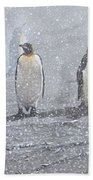 Group Of King Penguins In The Snow Bath Towel by Alan M Hunt