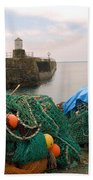 harbour pier and fishings nets at Pittenweem, Fife Bath Towel