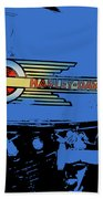 Harley Davidson Tank Logo Blue Artwork Bath Towel