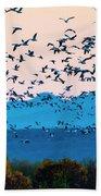 Herd Of Snow Geese In Flight, Soccoro Bath Towel