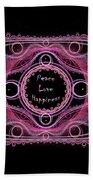 Hippie Lace - Peace, Love, Happiness Bath Towel