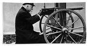 Hiram Maxim Firing His Maxim Machine Gun - 1884 Bath Towel