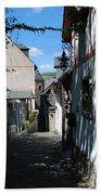 historic cobbled lane in Beilstein Germany Bath Towel