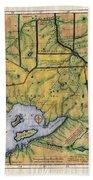 Historical Map Hand Painted Lake Superior Norhern Minnesota Boundary Waters Captain Carver Bath Towel