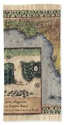 Historical Map Hand Painted St. Augustine Bath Towel