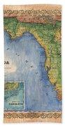 Historical Map Hand Painted Vintage Florida Colton Bath Towel