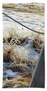 Hoar Frost On A Fence Along Turnagain Arm On The Seward Highway Alaska Bath Towel