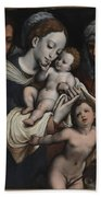 Holy Family With Elisabeth And John The Baptist  Bath Towel