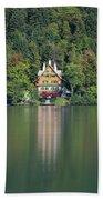 House On The Lake Bath Towel by Davor Zerjav