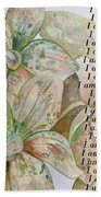 I Am...positive Affirmation In Coral And Green Bath Towel by Shadia Derbyshire