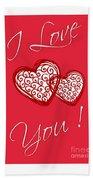 I Love You Hearts Bath Towel