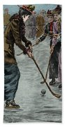 Ice Hockey  Ladies Match On The Lake In Wimbledon Park Hand Towel