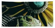 Iguana And Sunflower Hand Towel