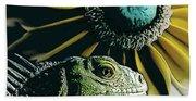 Iguana And Sunflower Bath Towel