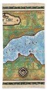 Iowa Clear Lake Custom Map Custom Map Art Bath Towel