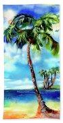 Island Solitude Palm Tree And Sunny Beach Hand Towel