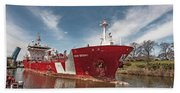 Iver Bright Tanker On The Manistee River Bath Towel