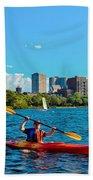 Kayaking On The Charles Bath Towel