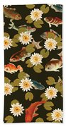 Koi And Lily Pads In Dark Water Bath Towel