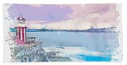 Lighthouse, Sydney, Australia -  Watercolor By Ahmet Asar Hand Towel