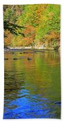 Little River In Autumn In Smoky Mountains National Park Hand Towel