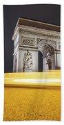 Long Exposure Picture Of Paris Arch De Triomphe At Night   Bath Towel